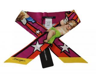 Dolce & Gabbana Cartoon Cherub Print Silk Twilly