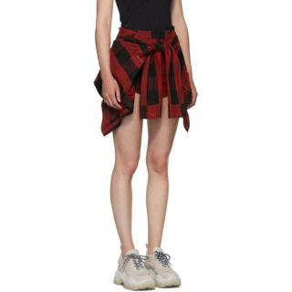 Alexander Wang Red Plaid Tie Front Skort with Shirting Detail