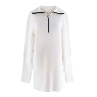 Celine by Phoebe Philo Runway White Silk Blend Zipper High Neck Dress