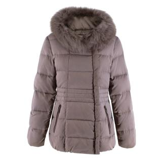 Max & Moi Taupe Fox Fur Lined Down Jacket
