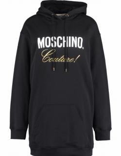 Moschino Couture Black & Gold Logo Hoodie Dress