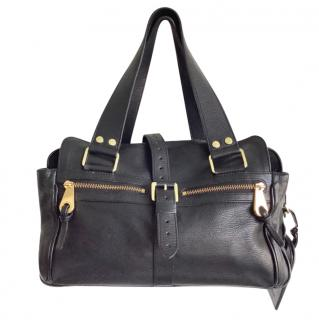 Mulberry black leather mabel tote bag