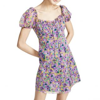 Raquel Allegra Floral Violet Rose Mini Dress