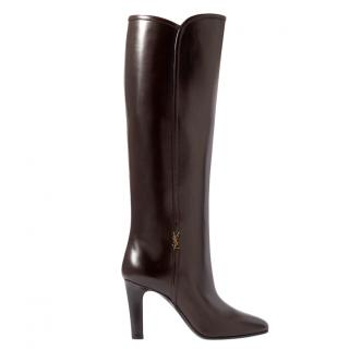 Saint Laurent Dark Brown Glossy Blu Knee Boots