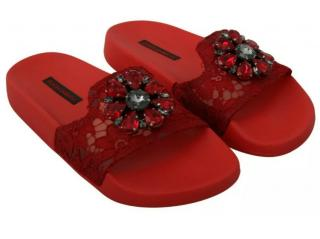 Dolce & Gabbana Red Lace Crystal Embellished Slides