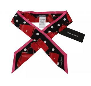 Dolce & Gabbana Sicily Bag Polka Dot Print Silk Twilly