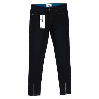 Paige Dark Blue Ankle Zip Skinny Jeans