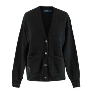 Polo Ralph Lauren Grey Wool Knit Cardigan with Embroidered Pocket