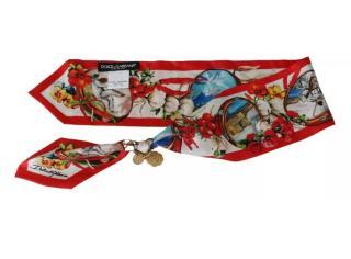 Dolce & Gabbana Red & White Silk Neck Tie