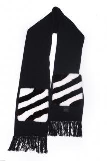 FurbySD Black & White Mink Fur Trim Merino Wool Scarf