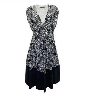 Balenciaga silk blend black & white sleeveless top & skirt