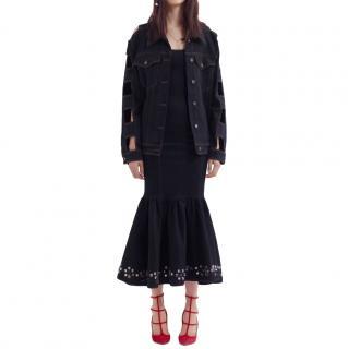 Alessandra Rich Black Cut Out Denim Jacket