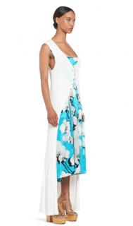 Roberto Cavalli Layered Orchid Print Knit Overlay Midi Dress