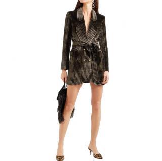 Blaze Milano Sunshine Belted Striped Velvet Mini Dress