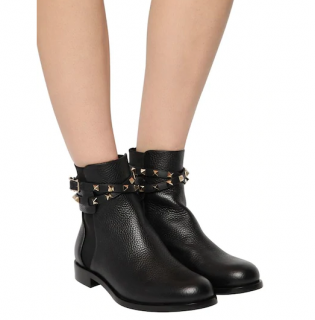 Valentino Grained Black Leather Rockstud Wrap 20mm Ankle Boots