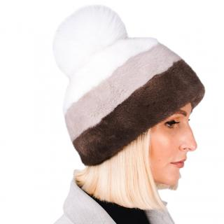 FurbySD Mink Fur Colourblock Hat with Fox Fur Pom Pom