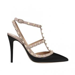 Valentino Black/Poudre Leather Rockstud Pumps