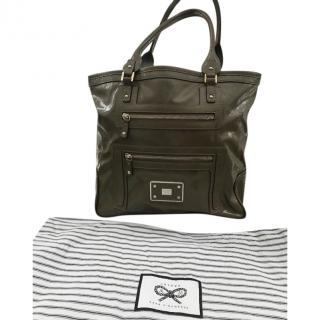 Anya Hindmarch Khaki Glossy Leather Tote Bag