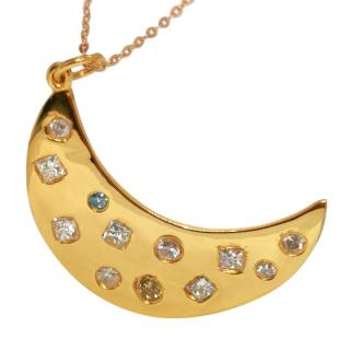 Bespoke 18ct Yellow Gold Diamond Encrusted Moon Pendant