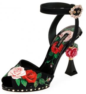 Dolce & Gabbana Rose Heel Ankle Strap Sandals