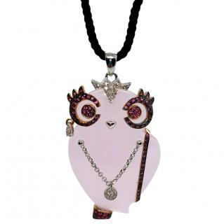 Madame Rose Quartz Pink Sapphire & Diamond Owl Pendant