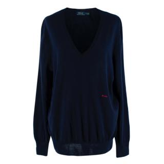 Polo Ralph Lauren Navy Wool Silk & Cashmere Knit V Neck Sweater