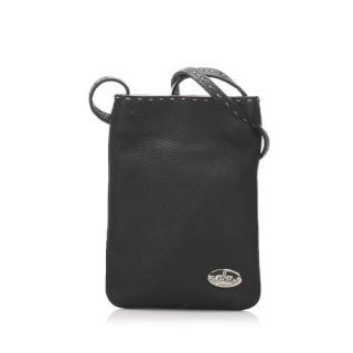 Fendi Selleria Black Grained Leather Shoulder Bag