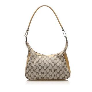 Gucci Monogram Canvas Leather Trimmed Shoulder Bag