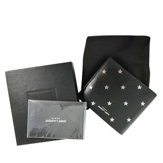 Saint Laurent Star Print Black Bi-Fold Wallet