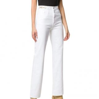 Celine White Denim Jane Flared Jeans