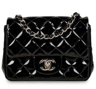 Chanel Black Patent Leather Square Mini Flap