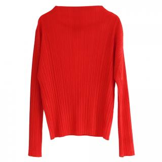 Issey Miyake Pleats Please Red Pleated Top