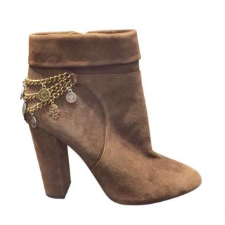 Aquazzura Brown Suede Chain Trim Ankle Boots