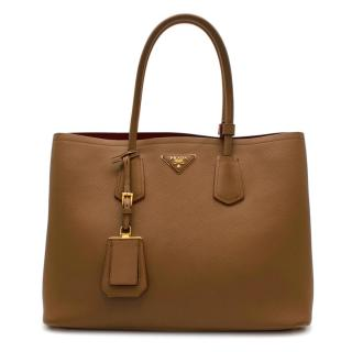 Prada Caramel Saffiano Leather Large Double Bag