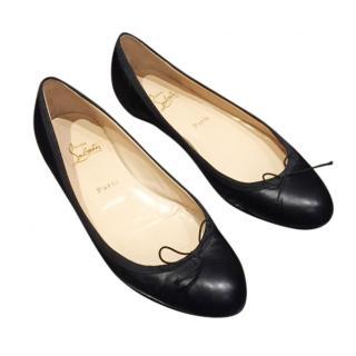 Christian Louboutin Black Leather Ballerina Flats