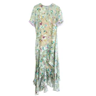 Preen By Thornton Bregazzi Green Floral Silk Blend Dress