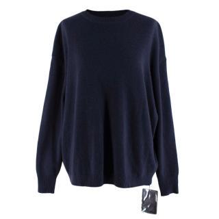Ellery Navy Wool & Cashmere Blend Grace Boyfriend Open Back Sweater