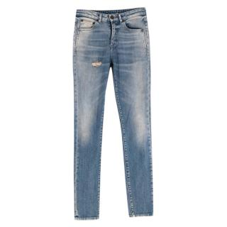 Saint Laurent Blue Denim Distressed Jeans