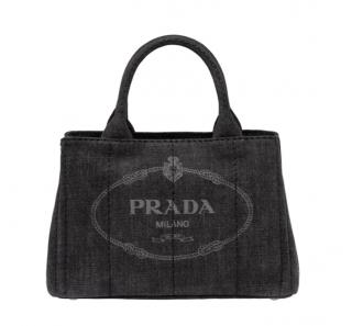Prada Black Denim Vintage Inspired Gardener's Tote