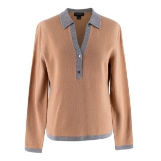 Brooks Brothers Camel Wool & Cashmere Knit Polo Shirt