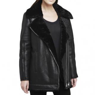 L'Agence Black Shearling/Lambskin Brando Moto jacket