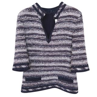 Chanel Blue Striped Tweed V-Neck Top