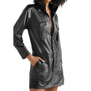Frame Black Leather Cargo Mini Dress