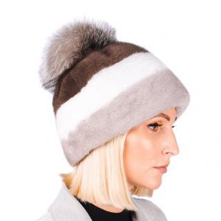 FurbySD Striped Mink Fur Hat with Fox Fur Pom Pom