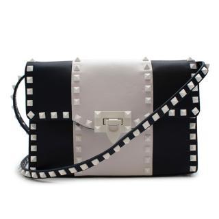 Valentino Navy & White Leather Medium Rockstud Shoulder Bag