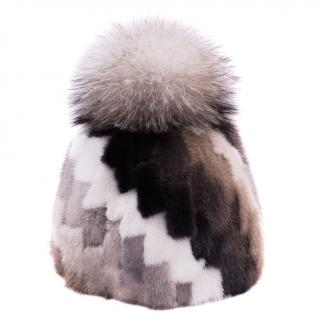 FurbySD geometric mink fur beanie hat with fox fur pom pom