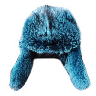 Prada Blue Ocatanium Fox Fur Hat