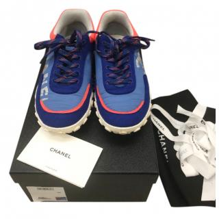Chanel Blue Neon Trim CC Sneakers