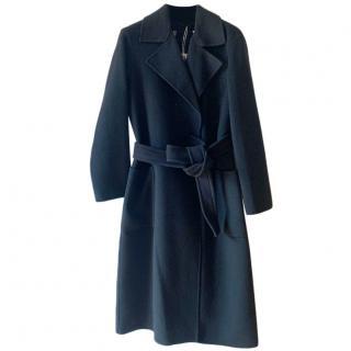 Max Mara Black Wool Wrap Coat