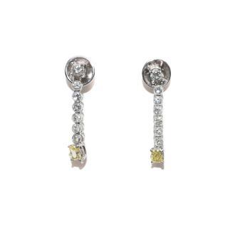 Bespoke 18ct White Gold Yellow & White Diamond Line Drop Earrings